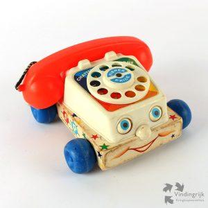 vintage chatter telephone telefoon Fisher Price 1961 belletjes ogen nostalgisch