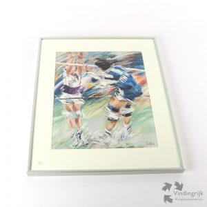 """Jan Hofland is een Nederlandse schilder en tekenaar, geboren in Rotterdam (1937). Hier een grafiek van zijn hand uit 1991 met het onderwerp """"Volleybal"""". De druk zit in een stevige metalen lijst achter glas en is door de kunstenaar gesigneerd."""