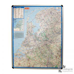 grote kaart Nederland magneet beschrijfbaar aluminium lijst groot