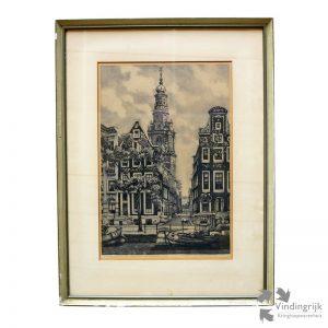 """Cornelis Brandenburg (Wormerveer 1883 - Amsterdam 1954) was een Nederlandse etser, tekenaar, plateelschilder en politiek tekenaar. Cornelis Brandenburg is één van Nederlands grootste etsers van stadsgezichten en dan vooral van Amsterdam. Hier een ets van de Westerkerk. Het werk heeft de ondertekening """"epreuve d'artiste"""" en is niet genummerd. Deze druk was niet bestemd voor de verkoop, maar was waarschijnlijk een exemplaar voor de kunstenaar zelf. De ets is door de kunstenaar gesigneerd en zit in een lijst van kunsthandel Koch, Kalverstraat Amsterdam."""
