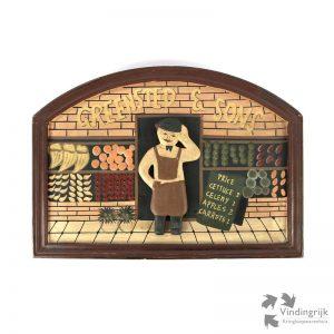 Oud houten pubbord van groenteman Greensted & Sons. Het bord is met de hand geschilderd op hout. Een erg leuke wanddecoratie voor thuis of in de winkel.