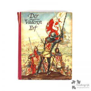 Boek over de vaderlandse geschiedenis met plakplaatjes naar aquarellen van J.W. Heijting. Het boek is een uitgave van N.V. Koek- en Beschuitfabriek v/h G. Hille & Zoon uit Zaandam en dateert van 1952. Het boek is compleet en bevat dus alle plaatjes.