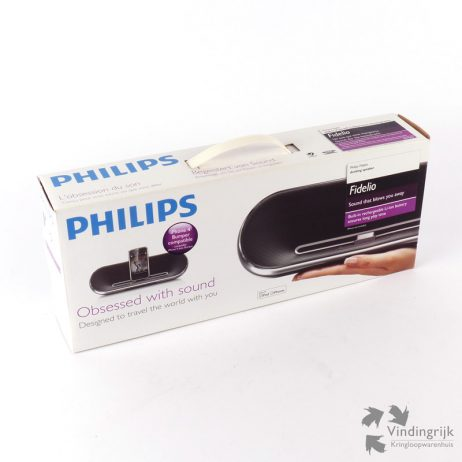 De Philips Fidelio DS7550 docking luidspreker wordt gebruikt in combinatie met de iPod of iPhone. Het apparaat is gemaakt van stevig aluminium, heeft een oplaadbare batterij en wordt geleverd met adapter en draagtas, dus gemakkelijk mee te nemen. Deze Fidelio met uitstekend geluid is zo goed als nieuw en wordt geleverd in de originele verpakking.