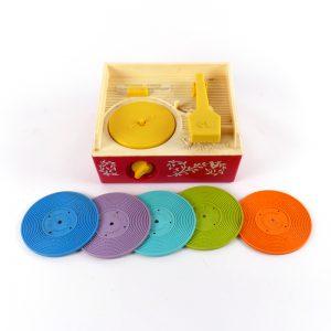 vintage Fisher Price Music Box Record Player 1971 platenspeler kunststof collectors-item platen muziek spelen speelgoed retro