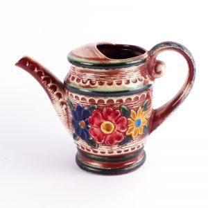 vintage gieter bay keramik keramiek hand beschilderd bloemen reliëf West Duitsland
