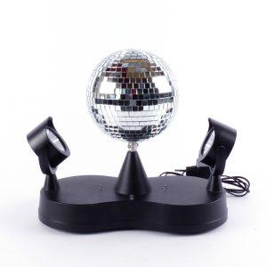 discobol spiegelbol LED lampjes spots draaien disco feest licht spiegel