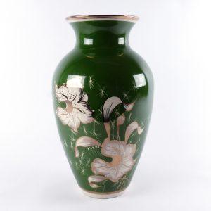 grote Poolse vaas porselein groot Polen groen bloemen