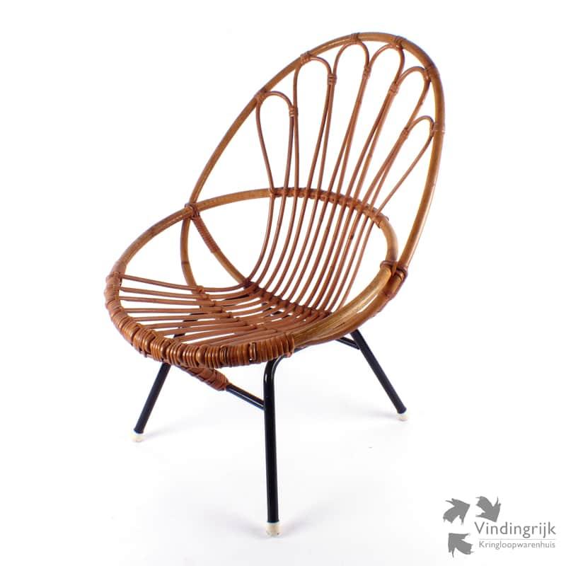 Retro Rotan Kinderstoeltje.Vintage Rohe Kinderstoeltje