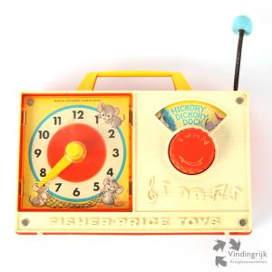 Vintage Speeldoos met Klok Fisher Price 1971 hickory dickory dock