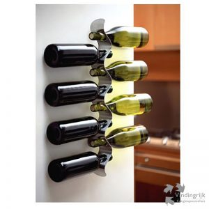 Flow design wijnrek flessenrek RVS geborsteld Black & Blum flessen wijnflessen
