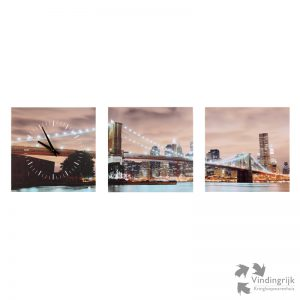 3 luik canvas klok foto Brooklyn Bridge New York